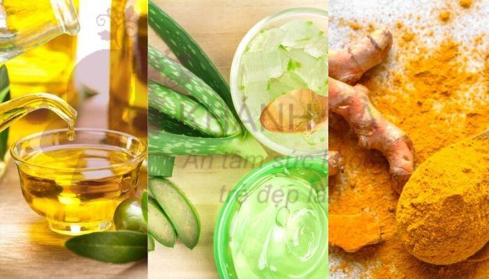 Hỗn hợp nha đam, bột nghê và dầu oliu trị mụn thịt