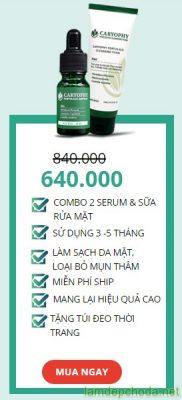 combo 2 serum trị mụn và sửa rửa mặt caryophy