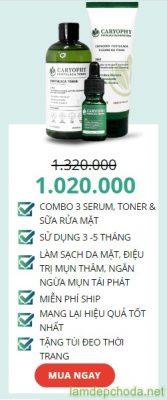 combo 3 serum trị mụn - sữa rửa mặt - toner caryophy